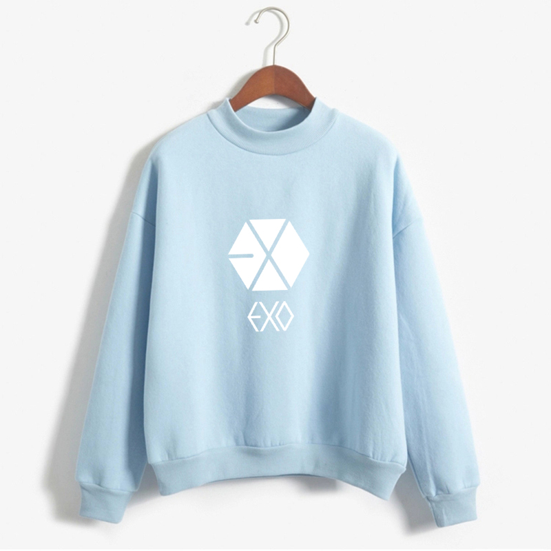 Kpop Exo Sweatshirt Women Autumn Winter Harajuku Casual Hoodies Letters Printed Fleece Pullover K-pop Clothes Drop Shipping