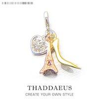 Eiffel Tower Gold High Heels Heart Charm Thomas Style DIY Accessories Fit Bracelet Necklace Silver Bijoux