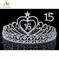 Pavo real Dulce Estrella 15 & 16 Cumpleaños Crystal Heart Star Quinceañera Tiara CT1533