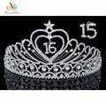 Peacock Star Sweet 15 & 16 Birthday Crystal Heart Star Quinceanera Tiara CT1533