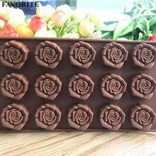 1 шт 15-даже розовыми цветами для шоколада из силикона в форме пресс-форм посуда кухонные принадлежности, приспособления для Кухонные принадлежности Fondant(сахарная) для украшения тортов E810