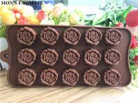 1 Uds 15-Rosa Flores con forma silicona chocolate molde utensilios para hornear herramienta de utensilios de cocina decoración de pasteles Fondant herramienta E810