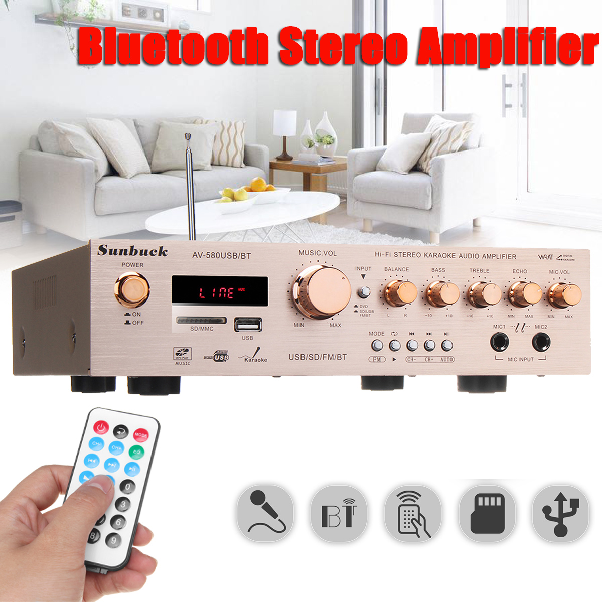 920W 220V 5CH Bluetooth HiFi Stereo AV Surround Amplifier FM Karaoke Cinema Home Home Theater Amplifiers домашний кинотеатр home theater 5 1 bluetooth