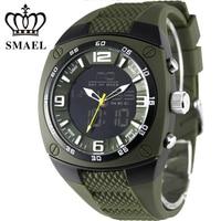 MAEL1008 Luxury Brand Clock Men Military Outdoor Sports Watches Digital LED Quartz Wristwatches Rubber Strap Dual
