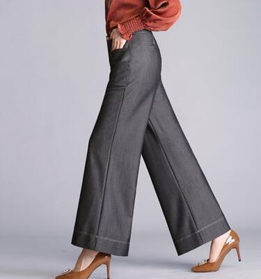 Moda Negro Bolsillos Alta Mujeres Primavera Yyf0806 Azul Nueva Tencel Pierna Negro Causales Pantalones Ancha Otoño Verano Cintura Jeans azul Capris De wq8CqHTf