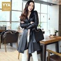 2019 весна осень женский черный из натуральной кожи настоящая Овчина кожаный Длинный плащ ветровка приталенная Одежда корейский дизайн