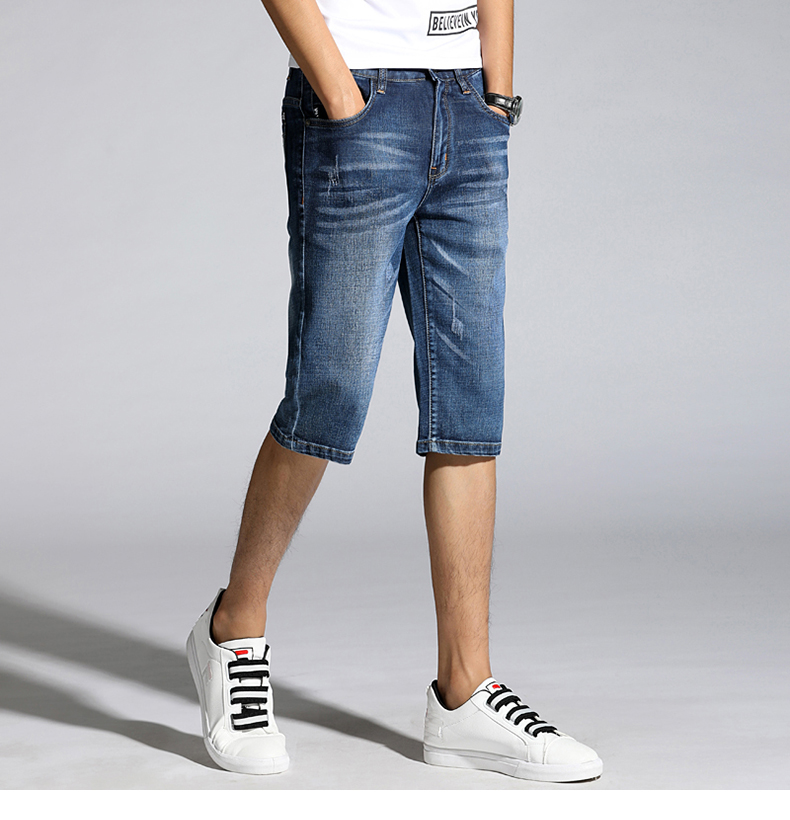 Summer Shorts Jeans for Men New Arrivals Elastic Blue Scratched Fashion Pockets Denim Shorts Jeans