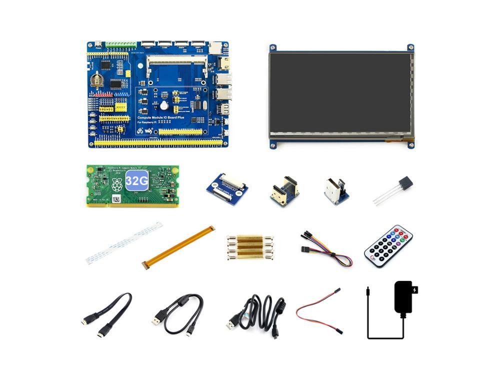 Raspberry Pi Module de calcul 3 +/32GB Kit de développement Type B, carte CM3 + IO, HDMI LCD, DS18B20, télécommande IR