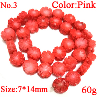 16 inches Pink Flat Flower Style Hand Made Carved Natural Coral Beads Loose Strand for Necklace