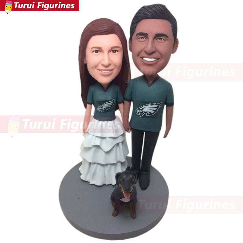 Philadelphia Eagles Wedding Groom Bride Personalized Cake Toppers Custom Bobble Head Topper
