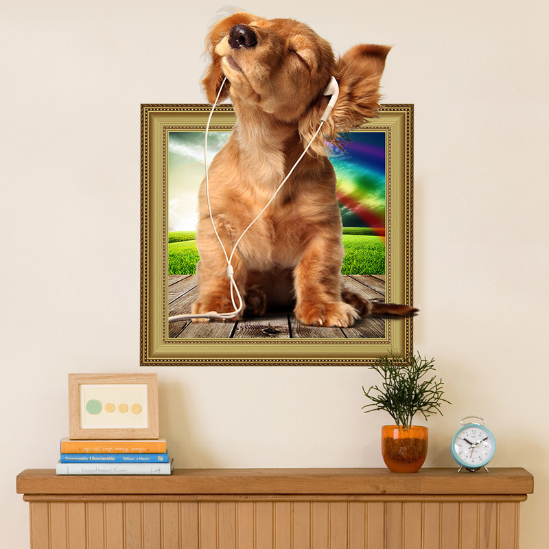 . US  3 01 6  OFF Creative 3D Animal Puppy Dog Photo Frame Wall Stickers  Living Room Kids Bedroom Nursery Mural Decal Wallpaper Free Shipping in  Wall