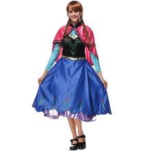 VASHEJIANG Adult Deluex Anna Princess Costume Women Fantasia Cosplay Blue Long Dress Anime Party Fancy Dress Halloween Costumes