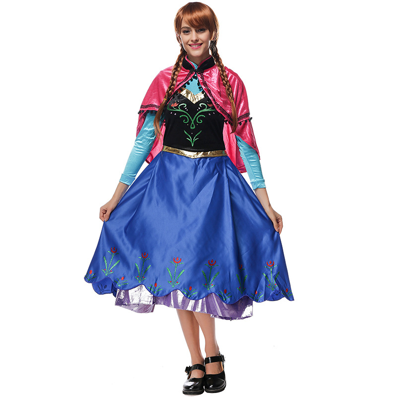 VASHEJIANG Adulto Deluex Anna Princess Costume Donna Fantasia Cosplay Blu Abito lungo Anime Party Fancy Dress Costumi di Halloween