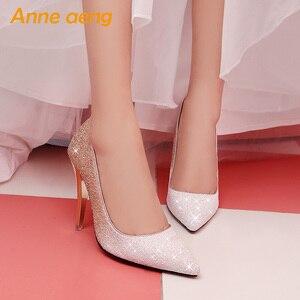 Image 4 - 2019 Yeni Yüksek topuklu ince ayakkabı kadın pompaları bling düğün gelin ayakkabıları klasik 1cm 5.5cm veya 8.5cm sivri ayak akşam parti ayakkabıları