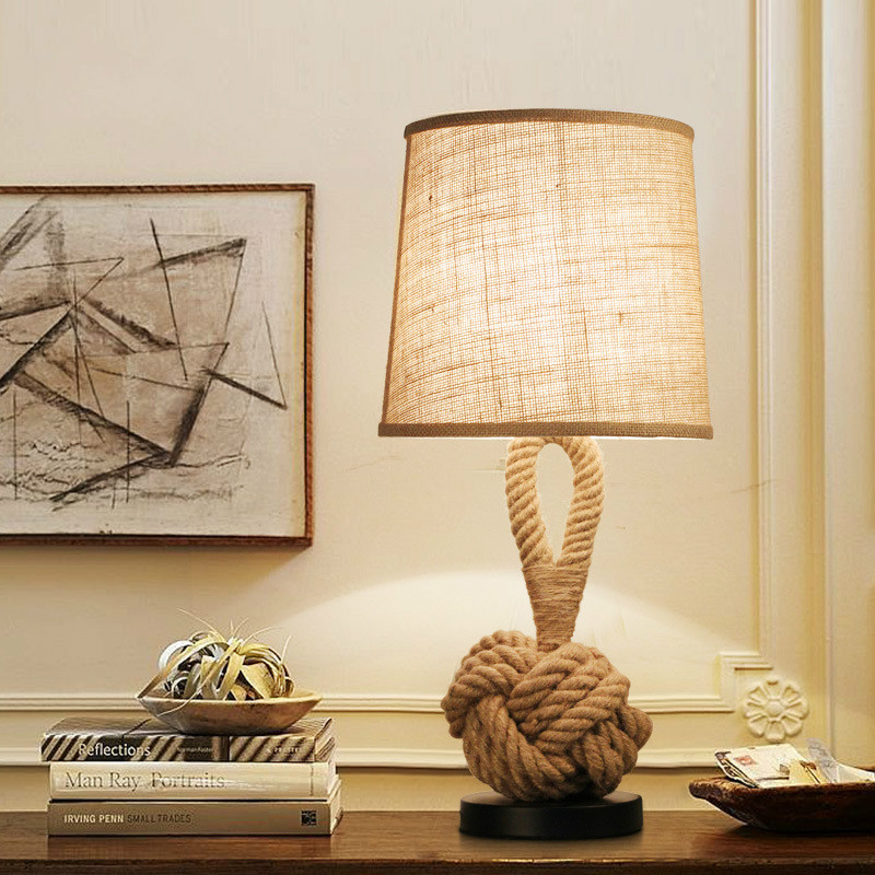 Artpad American Vintage Desk Lamp Fabric Lampshade Retro Table Manila Hemp Rope Lamp Home Lighting Art Deco Light