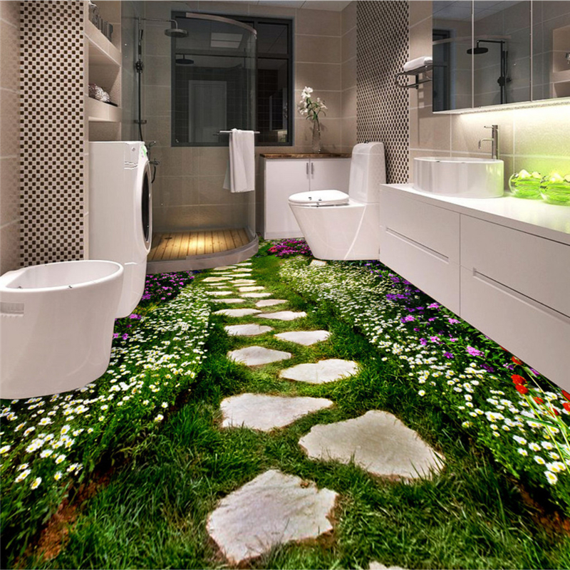 beibehang Customize any size wallpaper murals photos creative flowers garden plants flowers path toilet bathroom 3D floor handheld waterproof gardens plants flowers soil ph