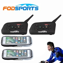 2 pcs V6 Pro BT Interphone Bluetooth Headset Intercom Full Duplex Two-Way Wireless Communication for Football Referee Judge Bike цена в Москве и Питере
