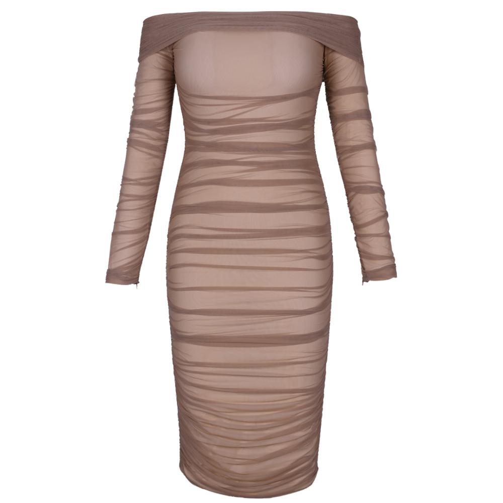 Deer Lady Summer Party Dress Women 2019 Sexy Mesh Bodycon Dress Long Sleeve Off Shoulder Sheer Ruched Celebrity Club Dress 3