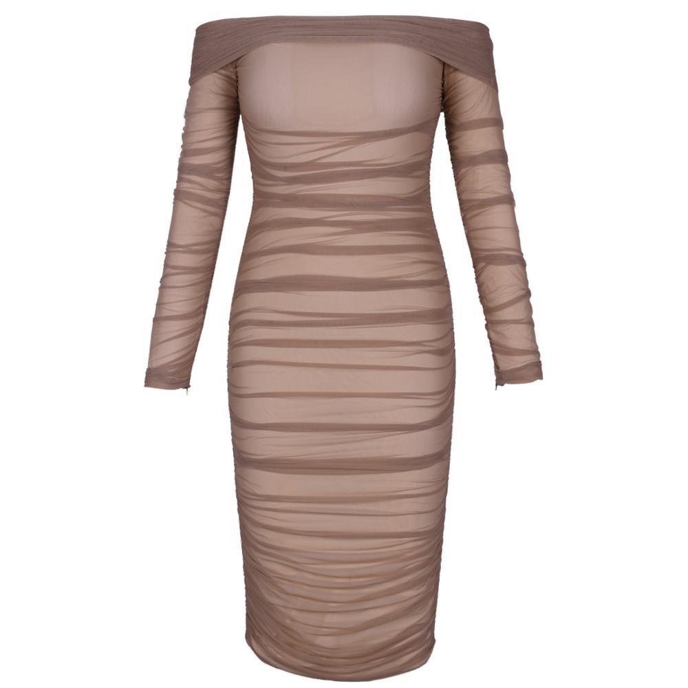 Cerf dame été Bandage robe rayonne 2019 célébrité robes de fête élégant Bandage robes sans bretelles moulante Sexy gland robe - 3