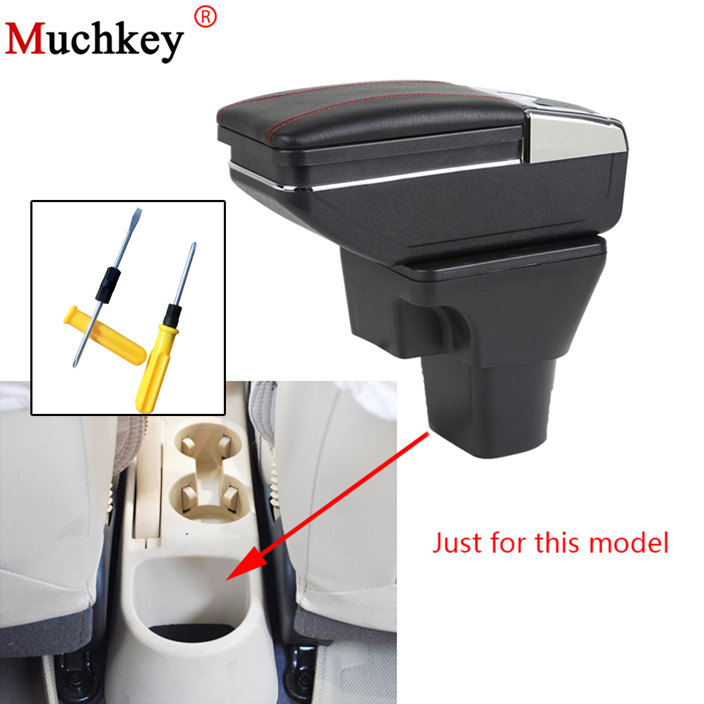 For Hyundai Accent 2006 2011 Car Armrest box central Console Arm Store content box cup holder ashtray PU Leather Car Accessories