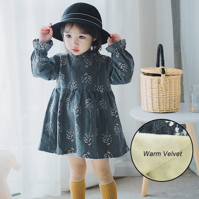 Little Girls Autumn Winter Floral Dresses Thick Warm Toddler Girl Dresses Children Clothing Christmas Dress Baby Girls Clothes children clothing new winter style knitted thick warm girl dress mesh patchwork o neck cute autumn baby kids girls dresses xl269