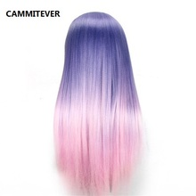 CAMMITEVER Purple Pink Hairdressing Training Heads Hair 20 inch Mannequin Head With Long High Quality Practice
