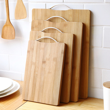 1pcs Wooden Cutting Mat With Curved Design Of Handle Easy To Hang