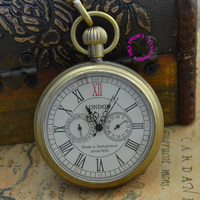 Coupon for wholesale buyer price good quality grandfather man antique retro bronze 5 hands london mechanical pocket watch hour