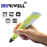 3d Ручка Myriwell 2nd поколения светодиодный ЖК-дисплей DIY 3D печать Ручка искусство 3d ручки для детей Инструменты для рисования высокое качество