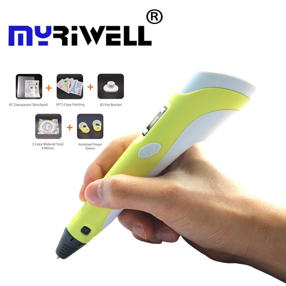 3d Stift Myriwell 2nd Generation Led Lcd Display Diy 3d Druck Stift Kunst 3d Stifte Für Kinder Zeichnung Werkzeuge Hohe Qualität