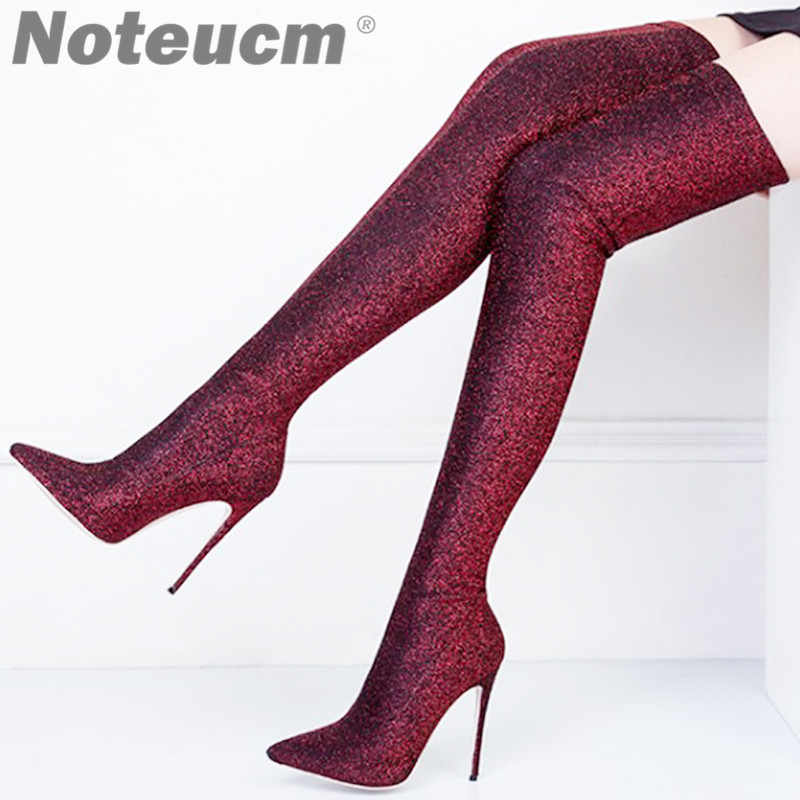 Size 45 Sexy bling bling Luxury Sequin Cloth Thigh High Heels Elastic Shoe  Glitter Stiletto Over 7a0d0e9c9bec