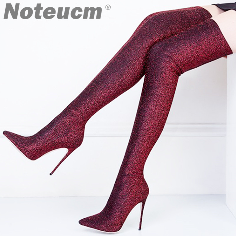 1f3d117d7bb Size 45 Sexy bling bling Luxury Sequin Cloth Thigh High Heels Elastic Shoe  Glitter Stiletto Over the Knee Fashion Red Boot Women