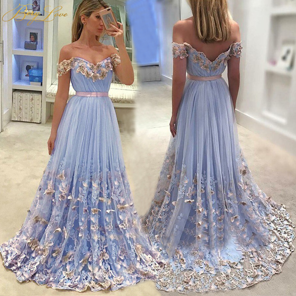 Romantic Off Shoulder Blue   Evening     Dresses   2019 Long Lace Appliques   Evening   Gowns Women Formal   Dress   Butterfly robe de soiree