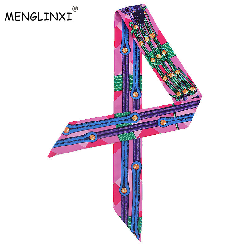 New Chain Print Small Silk Scarf For Bags Ribbons Womens Fashion Head Scarf Luxury Brand Small Long Scarves C93