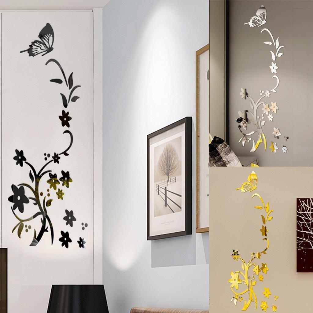 3D Diy Flower Butterfly Shape Acrylic Tree Wall Sticker Acrylic Clip Art wallpaper Sticky Bedroom living room decoration3.539