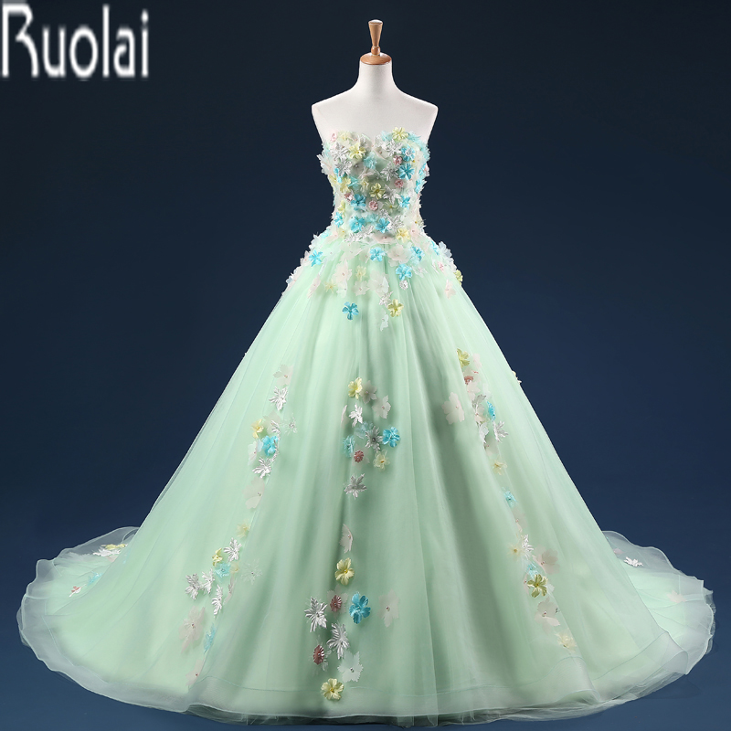 Light Green Colorful Tulle Flowers Applique Sweetheart Ball Gown Sweep Train Formal Long Prom Dresses For Wedding Party