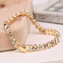 1 Pc Newest Women Shiny Silver Bracelets Charm Austria Crystal Cuff Bangles Fashion Jewelry Best Gift For Women(China)