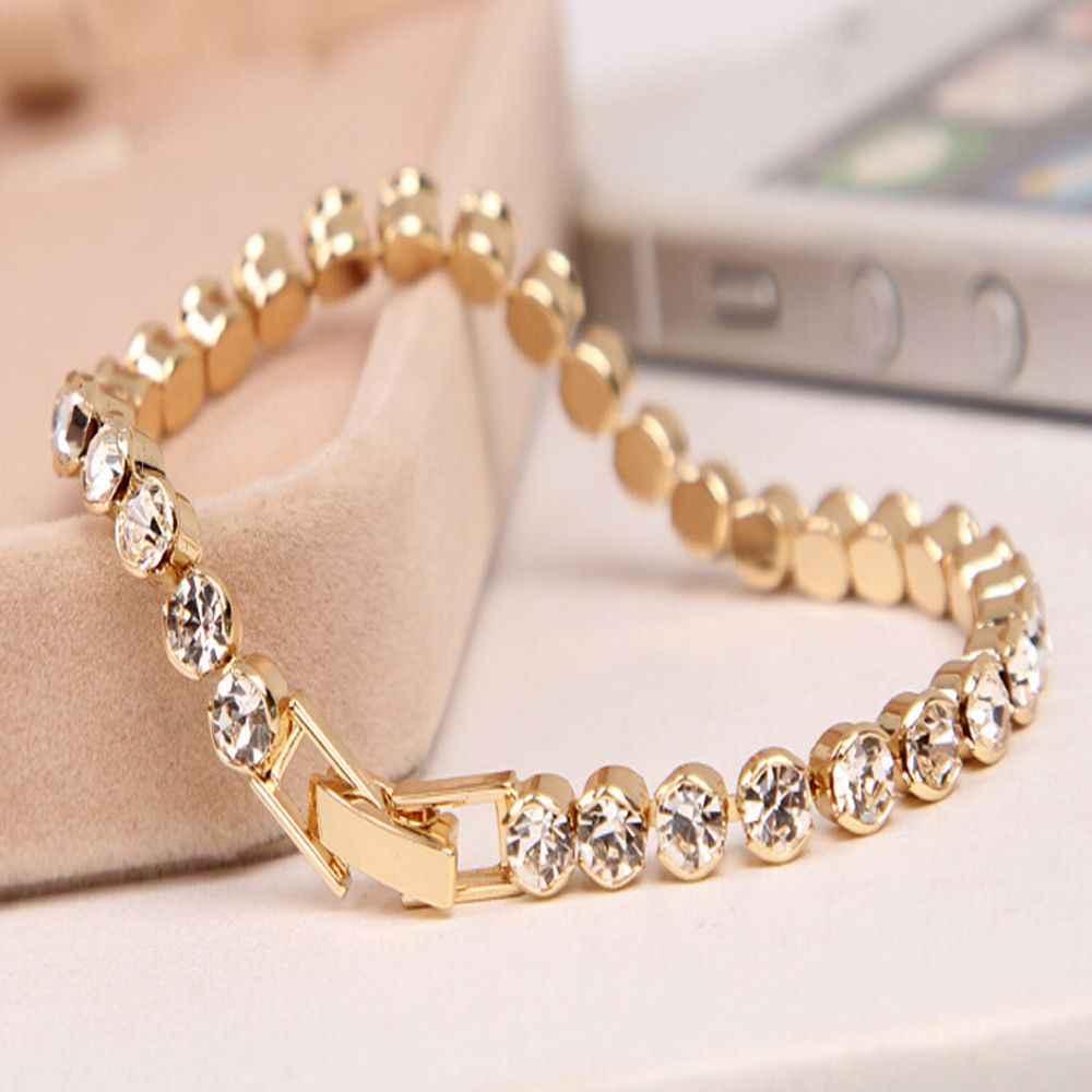 Gorące błyszczące luksusowy kwadratowe cyrkonie bransoletki Iced Out Chain Crystal bransoletka ślubna dla kobiet mężczyzn złota srebrna kolorowa bransoletka Bijou