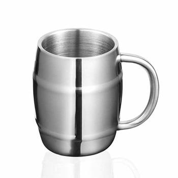 Hot 425ml Beer Mug Double Wall Stainless Steel Beer Cup Coffee Milk Mug Kitchen Gadget Coffee Cup Travel Cute Best Gift New