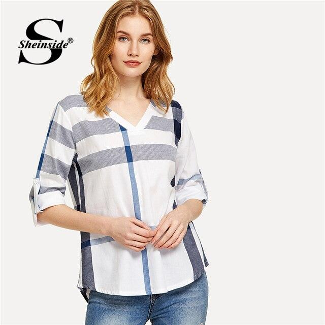 1316770d75 Sheinside Colorblock V-Neck Plaid Blouse High Low Curved Hem Long Sleeve  Top 2018 Spring Women Work OL Elegant Blouse
