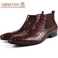 GRIMENINT men leather boots with zipper luxury Crocodile grained retro mens ankle boots black brown men shoes for business work