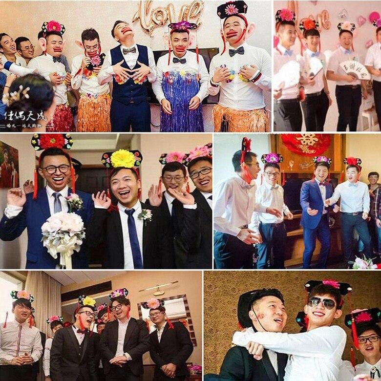 Original Style Wedding Party Groom&Groomsman Prank Prop Qing Dynasty Princess Hair Hoop Chinese Style Tassels Cosplay Props