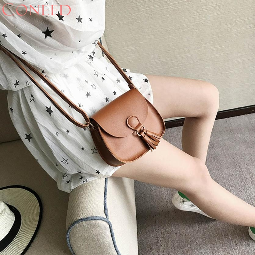 CONEED Women Handbags Tassel Leather Cross Body Shoulder Bags Girls Messenger Bag Juy17 hot sale tassel women bag leather handbags cross body shoulder bags fashion messenger bag women handbag bolsas femininas