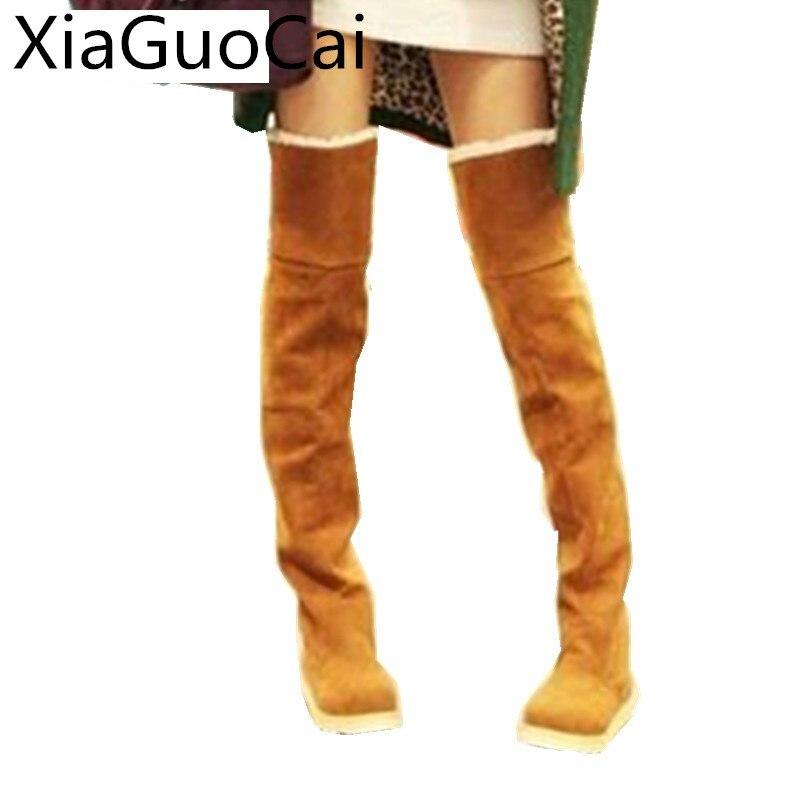 dd987e377b3 High Fashion Long Women Thigh High Boots Brown Faux Fur Female Winter Snow Boots  Over-