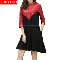 SHILO GO Новая модная уличная женская красная водолазка черный красный Свободный Повседневный Овчина натуральная кожа ТРАПЕЦИЕВИДНОЕ женское