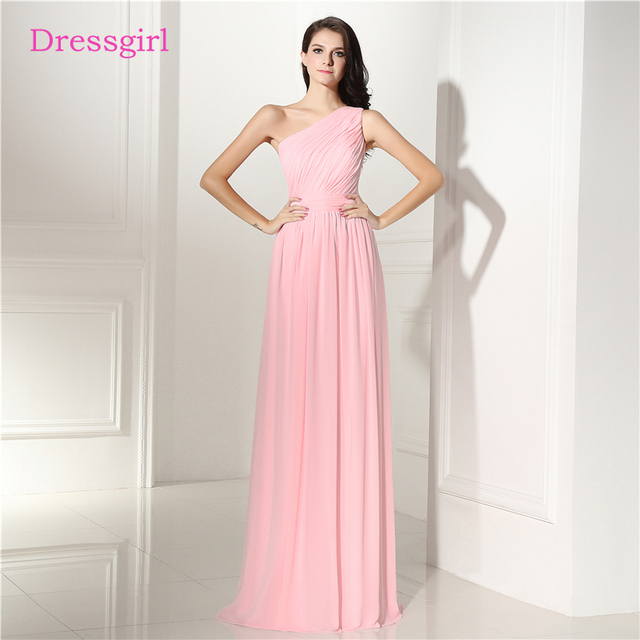 Pink 2018 Cheap Bridesmaid Dresses Under 50 A line One shoulder ...