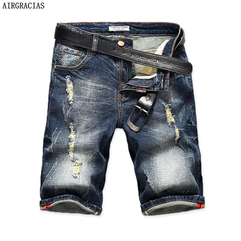 AIRGRACIAS Pantalones cortos de mezclilla para hombre 2017 de verano recto informal hasta la rodilla Bermuda masculina pantalones vaqueros rasgados para hombres 28-40