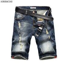 AIRGRACIAS Mens Denim Shorts 2017 Summer Straight Casual Knee Length Short Bermuda Masculina Ripped Jeans Shorts For Men 28-40