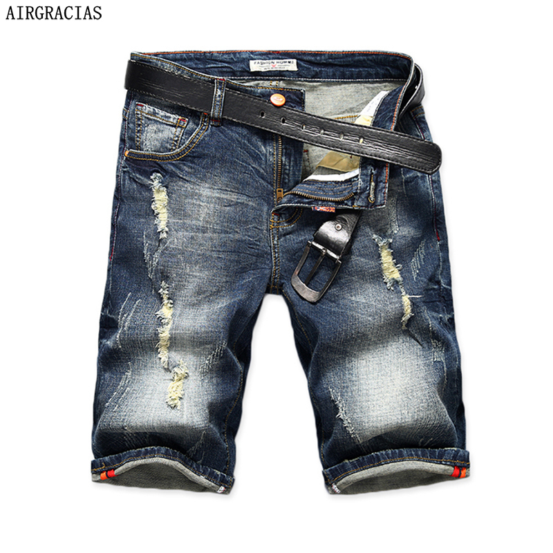 AIRGRACIAS Mens Denim Shorts 2019 Summer Straight Casual Knee Length Short Bermuda Masculina Ripped Jeans Shorts For Men 28-40