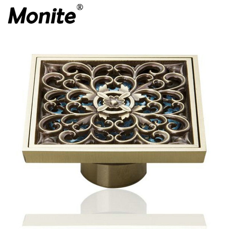 4 European Square Art Carved Antique Brass Kithen & Bathroom Floor Drains Shower Waste Drainer new luxury classical antique bronze push down pop up drainer waste without overflow
